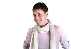 Hombre joven con la ropa ocasional con una bufanda Imagen de archivo libre de regalías