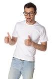Hombre joven con la sonrisa de los vidrios aislada Fotografía de archivo