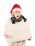 Hombre joven con la tarjeta en blanco Imagen de archivo libre de regalías