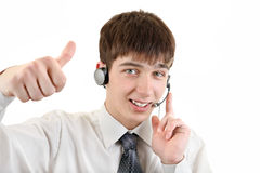 Hombre joven con las auriculares Foto de archivo libre de regalías