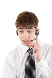 Hombre joven con las auriculares Fotos de archivo libres de regalías