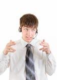 Hombre joven con las auriculares Imágenes de archivo libres de regalías
