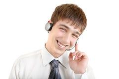 Hombre joven con las auriculares Imagen de archivo libre de regalías