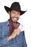 Hombre joven con las jugar-tarjetas. Fotografía de archivo libre de regalías