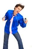Hombre joven con mp3-player Imagen de archivo