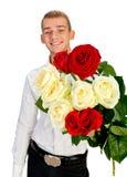 Hombre joven con Rose Imagen de archivo