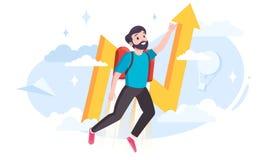 Hombre joven con un jetpack como met?fora para las innovaciones del negocio libre illustration