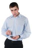 Hombre joven con una caja de cigarrillo imagen de archivo libre de regalías