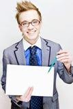 Hombre joven con una nota Fotografía de archivo