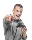 Hombre joven con una palanca de mando Fotografía de archivo libre de regalías