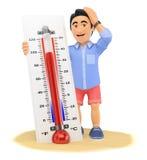hombre joven 3D en pantalones cortos con el termómetro caliente en la playa Foto de archivo libre de regalías