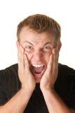 Hombre joven de griterío Foto de archivo