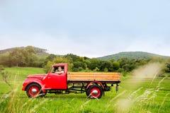 Hombre joven dentro de la camioneta pickup roja del vintage, naturaleza verde Imagen de archivo libre de regalías