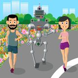 Hombre joven, deportes del juego de la mujer con un robot libre illustration
