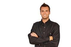 Hombre joven en camisa negra imágenes de archivo libres de regalías