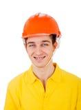Hombre joven en casco Imagen de archivo libre de regalías