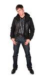 Hombre joven en chaqueta negra Fotos de archivo libres de regalías