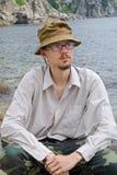 Hombre joven en el mar 10 Foto de archivo