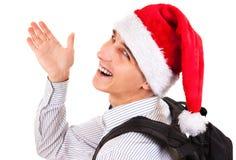Hombre joven en el sombrero de santa Fotos de archivo libres de regalías