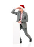 Hombre joven en el sombrero de santa Imagenes de archivo