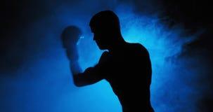 Hombre joven en guantes de boxeo metrajes