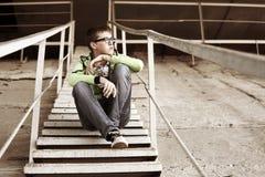 Hombre joven en la depresión Fotos de archivo