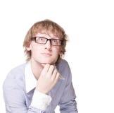 Hombre joven en los vidrios aislados con el camino fotos de archivo
