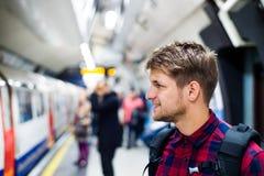Hombre joven en subterráneo Fotografía de archivo libre de regalías