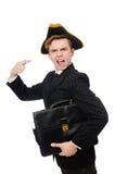 Hombre joven en traje con el sombrero del pirata Fotos de archivo libres de regalías