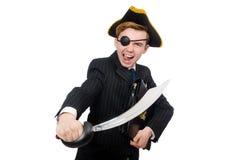 Hombre joven en traje con el sombrero del pirata aislado encendido Fotografía de archivo