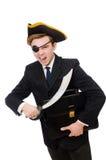 Hombre joven en traje con el sombrero del pirata aislado encendido Imagen de archivo libre de regalías