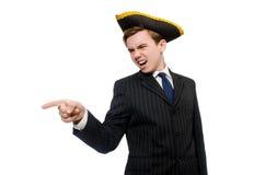 Hombre joven en traje con el sombrero del pirata aislado encendido Imágenes de archivo libres de regalías