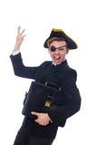 Hombre joven en traje con el sombrero del pirata aislado encendido Fotos de archivo