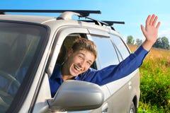 Hombre joven en un coche Fotos de archivo libres de regalías