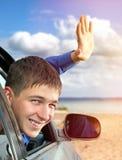 Hombre joven en un coche Fotografía de archivo libre de regalías