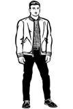 Hombre joven en un jacketv corto Fotos de archivo