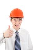 Hombre joven feliz en casco Foto de archivo libre de regalías