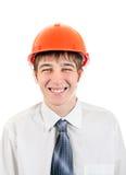Hombre joven feliz en casco Imágenes de archivo libres de regalías