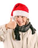 Hombre joven feliz en Santa Hat Fotografía de archivo