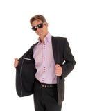 Hombre joven feliz en traje fotografía de archivo libre de regalías