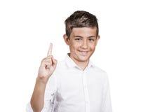 Hombre joven feliz que señala con el finger para arriba, número uno Fotografía de archivo libre de regalías