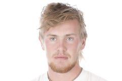 Hombre joven hermoso aislado sobre blanco Imagen de archivo