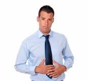 Hombre joven hermoso con dolor de estómago Fotografía de archivo