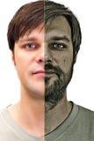 Hombre joven hermoso con la cara afeitada mitad Fotografía de archivo
