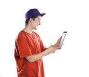 Hombre joven con la tableta Foto de archivo