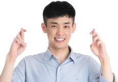 Hombre joven hermoso de Asia - aislado sobre un fondo blanco Foto de archivo
