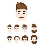 Hombre joven hermoso en diverso peinado Sistema de caras, vector, eps10 Imágenes de archivo libres de regalías