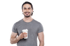Hombre joven hermoso en el fondo blanco Fotos de archivo libres de regalías