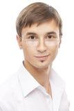 Hombre joven hermoso en vidrios Fotografía de archivo libre de regalías