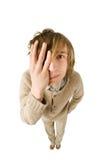 Hombre joven infeliz aislado en el fondo blanco Fotografía de archivo libre de regalías